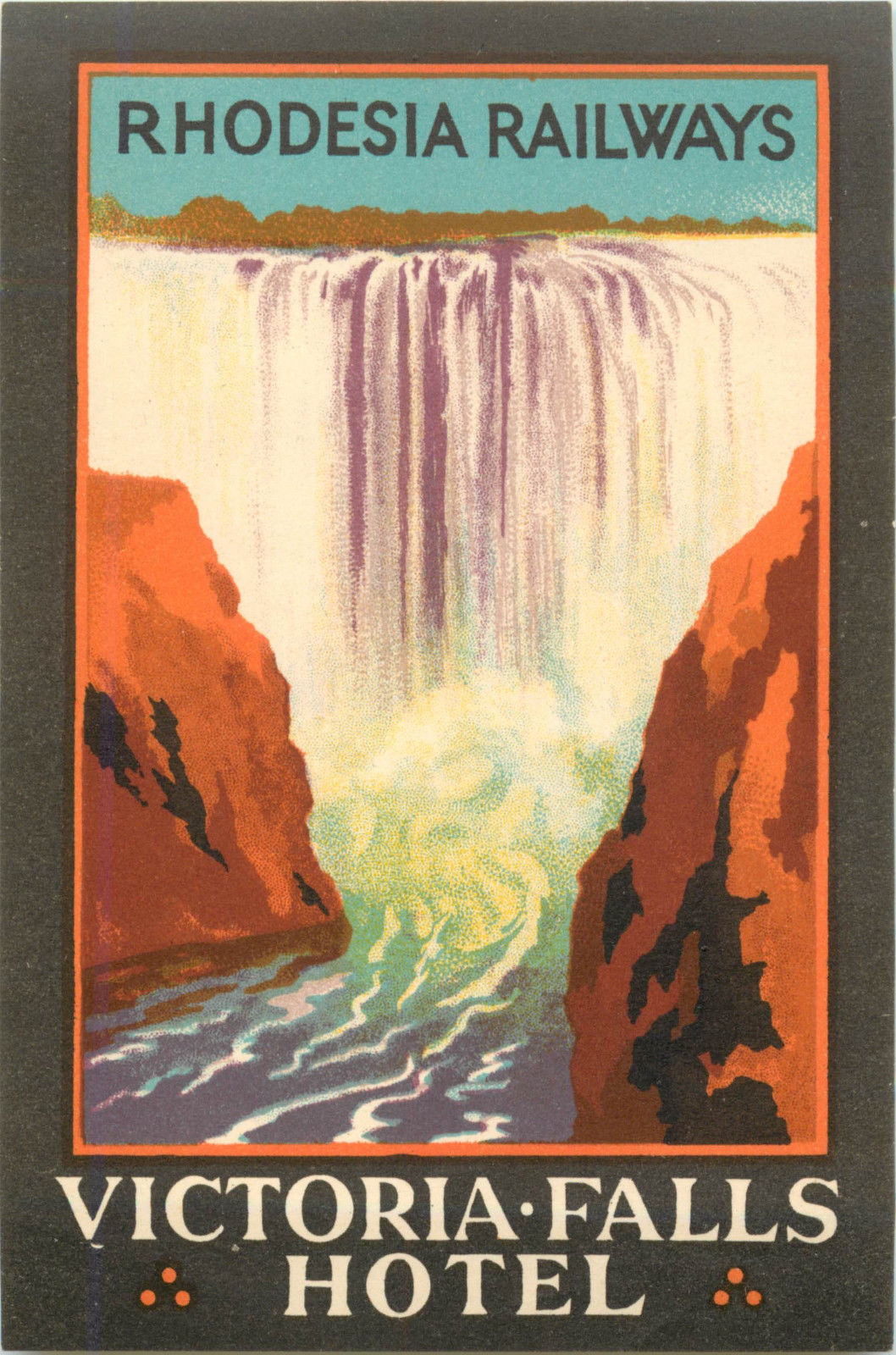 Victoria Falls Luggage Label